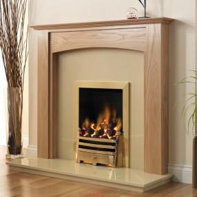 """PureGlow Stretton 48"""" Oak Finish Fireplace Suite"""