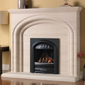 """PureGlow Wychbury 54"""" Limestone Fireplace Suite"""