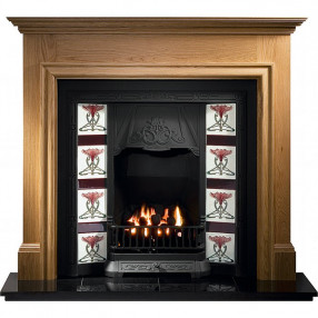 Gallery Howard Oak Fireplace with Toulouse Cast Iron Tiled Insert
