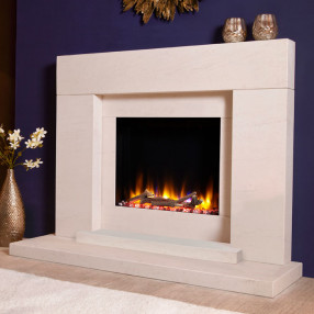 "Celsi Ultiflame VR Pablo 48"" Limestone Electric Fireplace Suite"