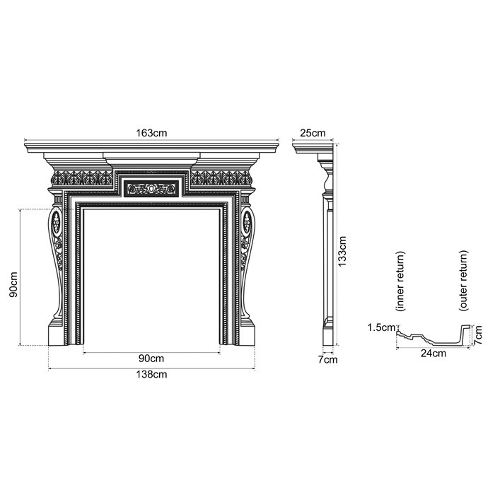 "Carron Knightsbridge 64"" Cast Iron Fireplace Surround ..."